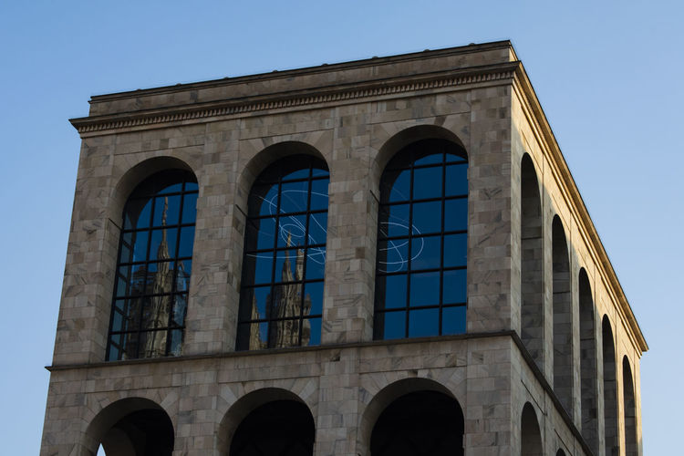 Museo Del Novecento Arch Architectural Column Architecture Belief Blue Building Building Exterior Built Structure City Clear Sky Day History Low Angle View Nature No People Outdoors Sky The Past Travel Travel Destinations Window