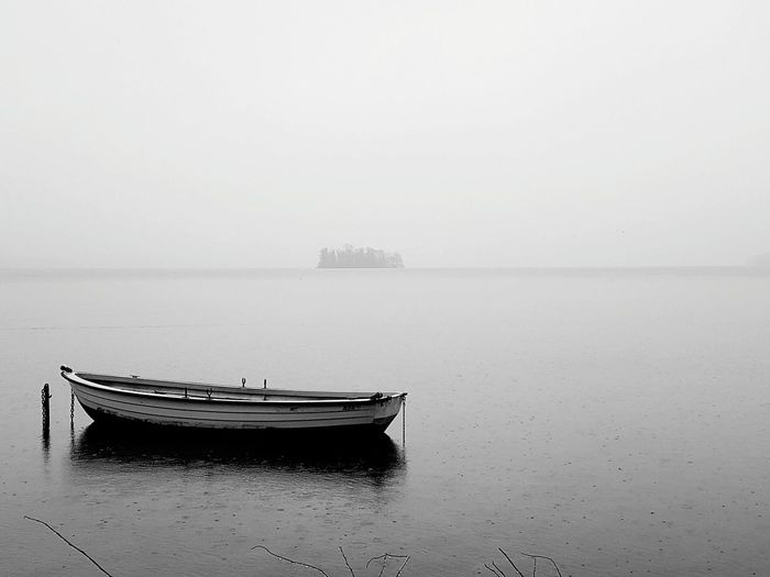Boat Water Tranquility Fog Tranquil Scene Reflection Nautical Vessel Sky Sea No People Outdoors