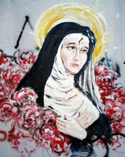 Saint Rita mural Santa Rita Da Cascia Street Art Saint Mural Mural Art Multi Colored Close-up Modern Art Art