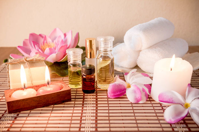 Alternative Therapy Aromatherapy Beauty In Nature Beauty Spa Beauty Treatment Body Care Bottle Candle Close-up Flower Health Spa Healthcare And Medicine Indoors  Luxury Nature No People Pampering Pink Color Relaxation Spa Treatment Still Life Toiletries Tranquil Scene Wellbeing Zen-like
