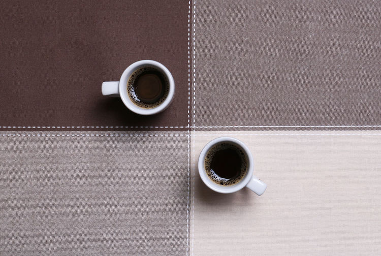 Coffee Cup Table Drink Coffee Cup Coffee - Drink Mug Food And Drink Refreshment Indoors  Black Coffee Directly Above Freshness Still Life No People Hot Drink Close-up Food Non-alcoholic Beverage Breakfast Caffeine Crockery Coffee For Two For Two Good Morning! Sections Brown Brown Color Tablecloth