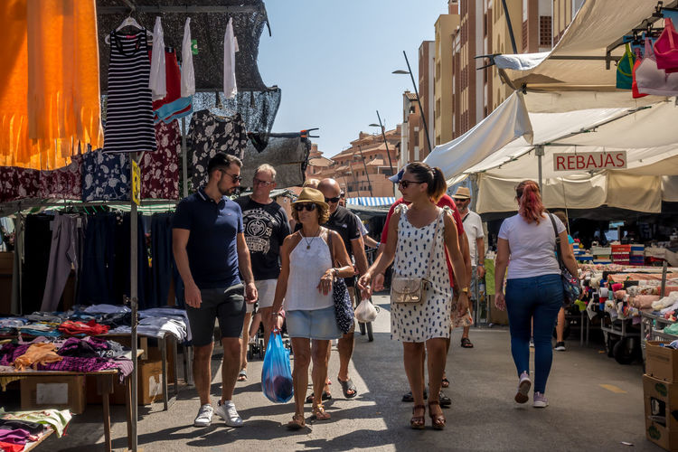 Real People Group Of People Women Architecture Men Full Length Building Exterior People Adult Casual Clothing Built Structure Market City Lifestyles Day Fashion Leisure Activity Sky Emotion Standing Almería SPAIN Market Market Stall Street Market