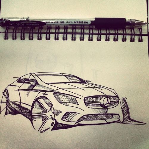 畫了一輛德國車 順便教大家唸Mercedes Benz的德文 美而ㄘㄧˊ的斯 班疵 超~~~~難聽 Mercedes_benz Car Automotive Industrial designGermanDeutschlandblackpendrawsketchartwork