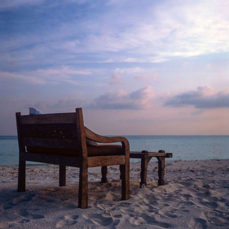 6x6 Absence Beach Chair Cloud - Sky Empty Film Great Outdoors - 2016 EyeEm Awards Horizon Over Water Idyllic No People Outdoors Relaxation Remote Sand Sea Seat Shore Sky Tranquil Scene Tranquility Vacations Velvia Wood - Material Yashica