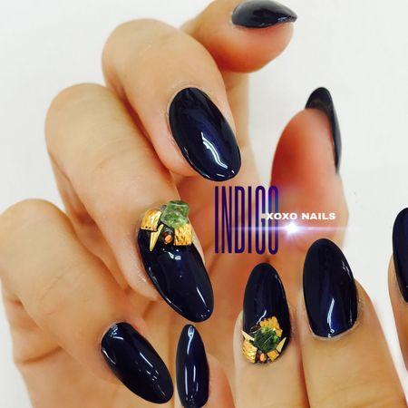INDIGO the New Black 👄 Nails Nailart  Nailswag Gelnails Xoxo Nails Japanese Style Japanese Nail Art Fashion ネイル ビジューネイル