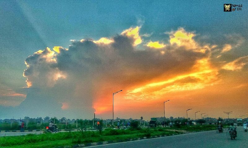 Sunset among the clouds 🇮🇳 Sunset Dramatic Sky Cloud - Sky Social Issues Danger Sky Accidents And Disasters Outdoors No People City Tree Day Nature Thunderstorm Tornado Oil Pump Eyeemphotography Photography Highwayphotography Motorcycle Photography Nomad EyeEm Beauty In Nature Nature Travelgrams NOMAD