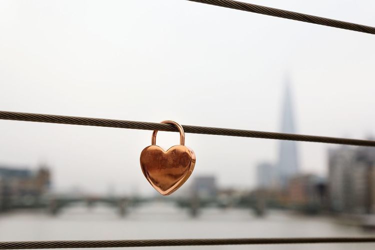 Heart Shaped Lock Hanging Metal Railing Padlock Protection Outdoors No People Silhouette Shard River Bridge - Man Made Structure Water Security Love Lock Love Heart Shape Safety Wire LONDON❤ River Thames London
