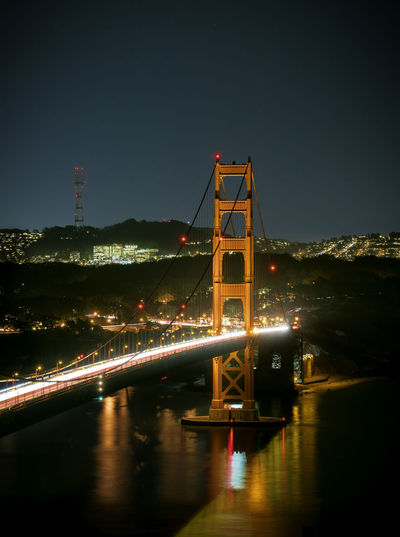Golden Gate Bridge from Battery Spencer Battery Spencer Golden Gate Bridge San Francisco Architecture Bridge - Man Made Structure City Cityscape Illuminated Night No People Suspension Bridge Transportation Travel Destination Travel Destinations Water