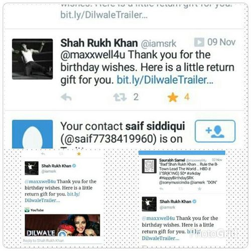 💯% Tru Thing Installed Twitter on My phone n Saw 5 Notifications ....... N of those 2 Were frm Srk 💓💕...... Yah Bitches Srk , KingKhan , BOLLYWOODBADSHAH ...... @iamsrkk2 @iamsrk replied my tweet ......👄 Dude don't b jealous now 😁 , u need to b damm lucky for such things ✌ . Twitter ID- maxxwell4u