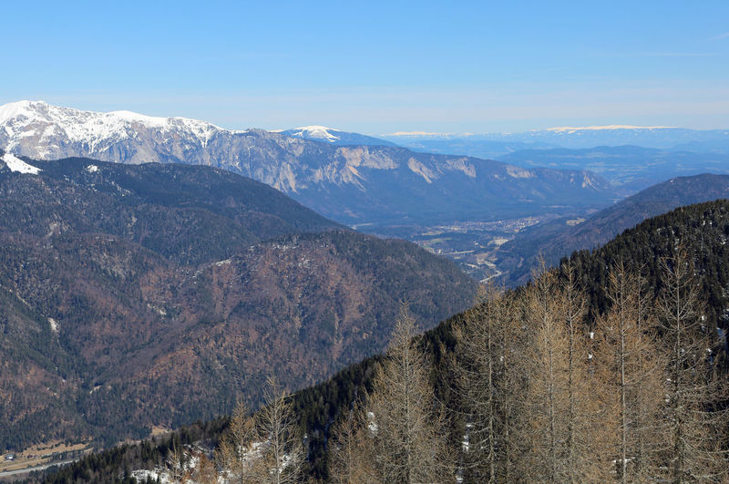 Wide view from Italy to Austria and mountains with snow Italien Nature Panorama Tarvisio Winter Idilic Scene Idyllic Italian Italy Landscape Landscapes Lussari Monte Lussari Mountain Mountain Range Outdoors Snow White