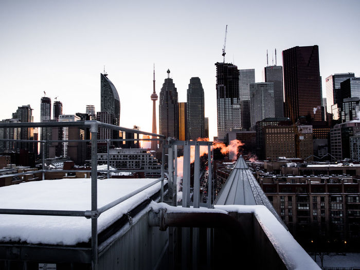 Cityscape Against Clear Sky During Winter
