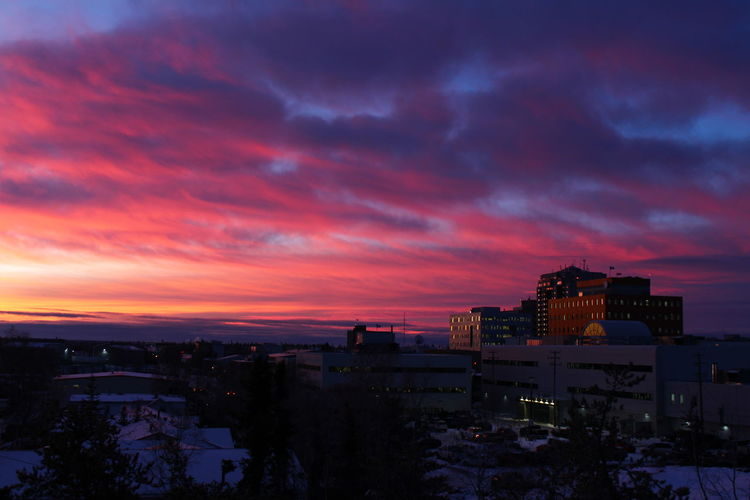 Sunset in Yellowknife, view from worker hostel. EyeEmNewHere Architecture Beauty In Nature Beauty In Nature Building Exterior Built Structure City Cityscape Cloud - Sky Nature No People Outdoors Purple Sky Sky Sunset Travel Destinations
