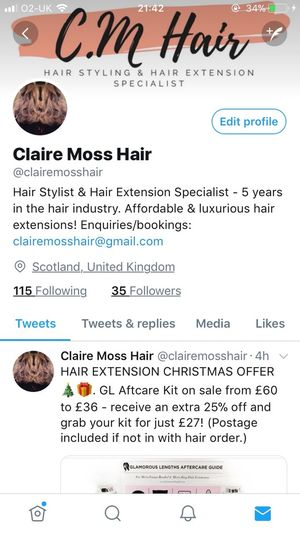 @clairemosshair - please give my twitter page a follow - I would highly appreciate it, as I'm JUST starting to work alone - no business partners! 2018 defiantly going to work hard day in & our to achieve and be very successful 🤞🏽🤞🏽🤞🏽🤞🏽 Hair #hairdresser Hairstyles HairExtensions Glamorous  Luxurious Haircolor Hairtrends Follow Myhairpage Twitter Giveawaways&more @clairemosshair New Business Startup Goals2018 Runway