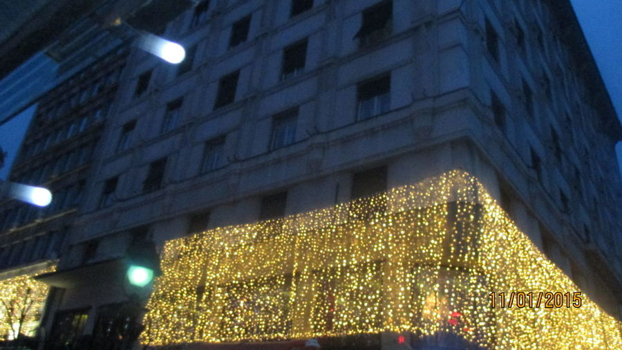 Paint The Town Yellow Architecture Building Exterior Built Structure Celebration Christmas Christmas Decoration Christmas Lights City Illuminated Lighting Equipment Low Angle View Night No People Outdoors