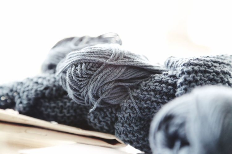 Close-Up Of Gray Wools On Table