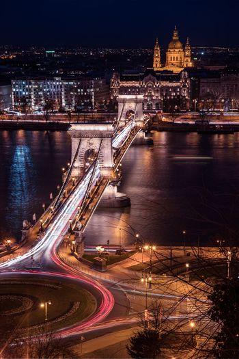 High angle view of illuminated bridge at night