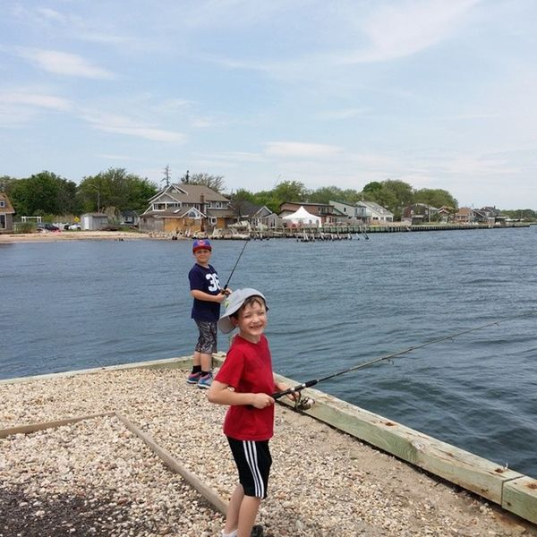 Fishing with boys trying to get dinner....Memorialday Bayport Bluepoint