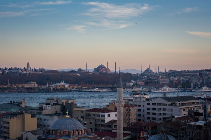 Istanbul at sunset Cityscape Famous Place International Landmark Istanbul Mosque Outdoors Sky Skyporn Sunsey Temple Topkapi Palace Tower Travel Destinations Turkey Turkish