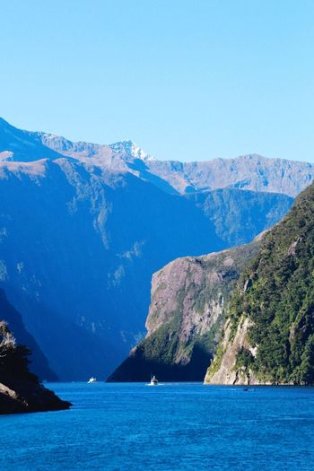 Milford Sound Holiday Sailing Ship Mountain Peak Mountain Fiordland Fiorland National Park Cruise Boat Travel Calm Water Mountain Scenics - Nature Sky Sea Beauty In Nature Waterfront Tranquil Scene Tranquility Mountain Range Idyllic Blue Nature No People Clear Sky Day Land Non-urban Scene View Into Land