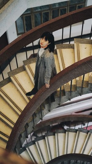 Portrait Of A Woman Portrait ThatsMe Staircase Architecture Steps And Staircases Built Structure Lifestyles One Person Leisure Activity Standing High Angle View Indoors  Casual Clothing Front View Moving Down