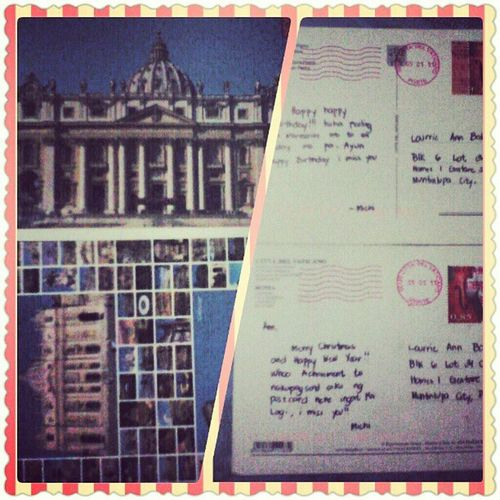 "Postcards from Italy, given by my bestfriend :""> I miss her so muuuch! I want to see you again. StPetersBasilica CittaDelVaticano TheColosseum Roma"