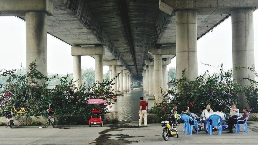 江边桥下 Under Underneath City Architectural Column Below Bridge - Man Made Structure Architecture Built Structure