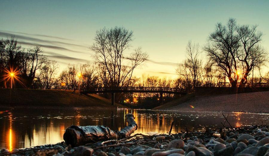 Bundek Lake at Sunset . In Zagreb . Beautiful Nature isn't it?