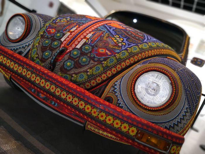 Vocho Huichol Vocho Huichol Huichol Art Car Auto Museum Art City Multi Colored Close-up Design Vintage Car Vehicle Pattern