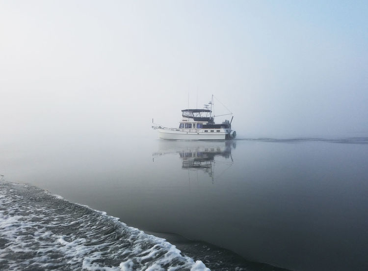Boat On The Water Fog Foggy Morning Matanza River Morning Light Nautical Vessel No People Trawler