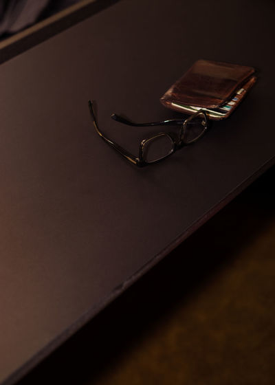 High angle view of eyeglasses on table