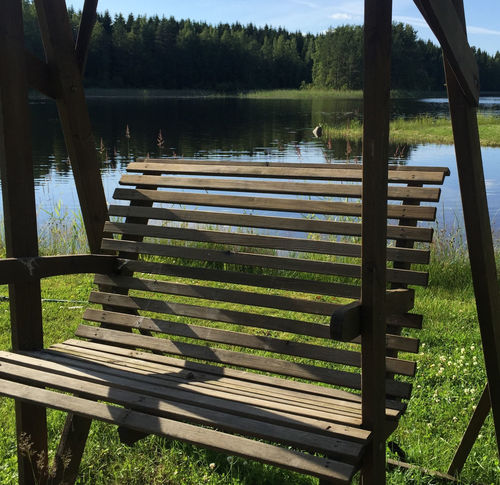 Calm Water Conversation With A Friend Day Finland100years Grass Lake Lakeside Me Time No People Outdoors Relaxation Time Rocking Chair Scenics Summer Summer Day Summer Holidays Summertime Suomi100 Time To Reflect Tranquility Wood - Material Wooden Swing Presentation Background