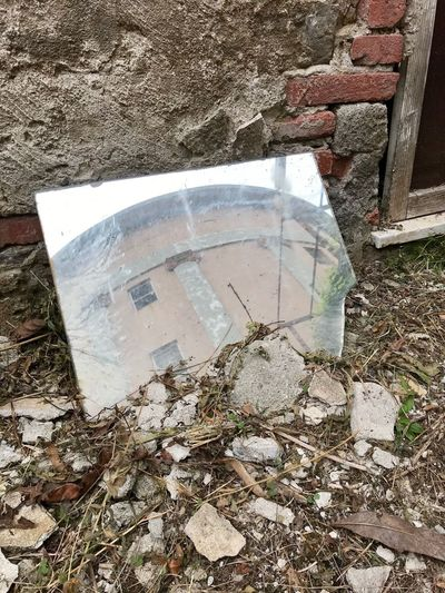 Mirror Day High Angle View No People Abandoned Obsolete Damaged Old Architecture Close-up Built Structure Outdoors Decline Wall - Building Feature