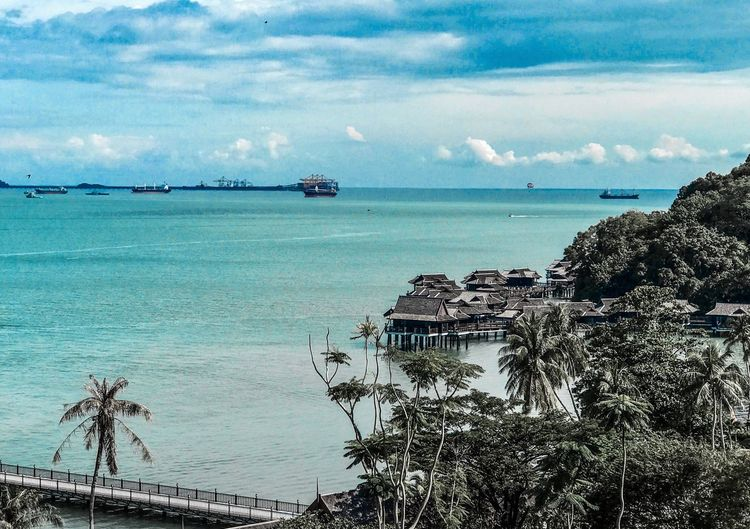 Sea Beach Sky Horizon Over Water Water Tranquil Scene Nautical Vessel Tranquility Cloud - Sky Nature Scenics Outdoors No People Day Beauty In Nature Palm Tree Travel Destinations Tree Architecture Built Structure Malaysia Perak Pangkor