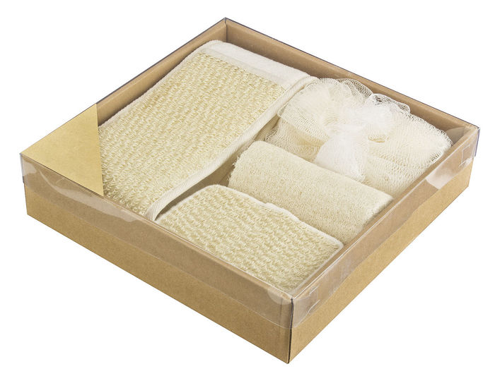High angle view of bread in box against white background