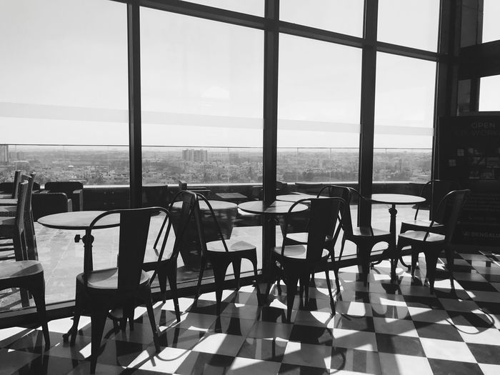 Blackandwhite Calmweather Chairs Checktiles Glass Glass - Material Noone Skies Sky Skydeck View The Architect - 2017 EyeEm Awards