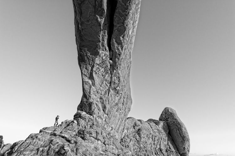 Rock formation against clear sky