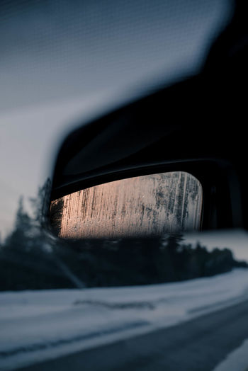 Close-Up Of Car Side-View Mirror