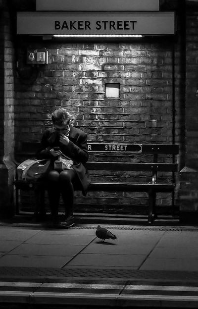 Just another crazy day Waiting For A Train London London Underground Pigeon Gerry Rafferty Baker Street Sitting Text Real People Full Length Communication Two People Outdoors Young Adult City Lifestyles People