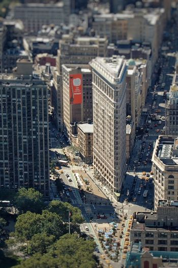 Tilt shift image of buildings by city street