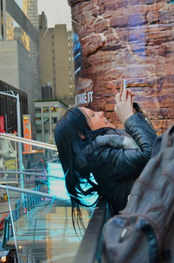 Beautiful Woman Make a Delicious Picture in TimesSquare New York City , Amazing Time .. Keep Smiling Always
