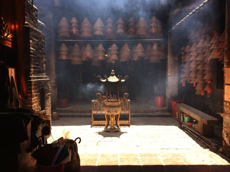 Temple and Smoke Urban Temple HongKong Hktemple Gods Temple Architecture Illuminated Built Structure Seat Night Table Religion