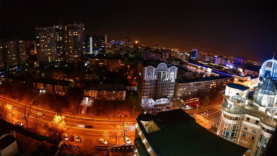 Night Almaty Almaty City Almaty Night Architecture Illuminated City Cityscape Building Exterior Built Structure Skyscraper High Angle View City Life Outdoors Modern Sky No People Travel Destinations Urban Skyline