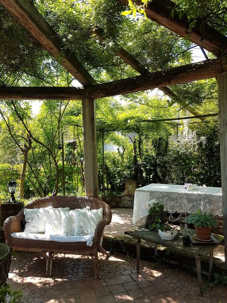 Chair Table Window Day No People Furniture Tree Architecture Nature In The Garden Al Fresco Pergola Outdoor Room Romantic Garden Shabby Chic Romantic Style Outdoor Design The Secret Spaces