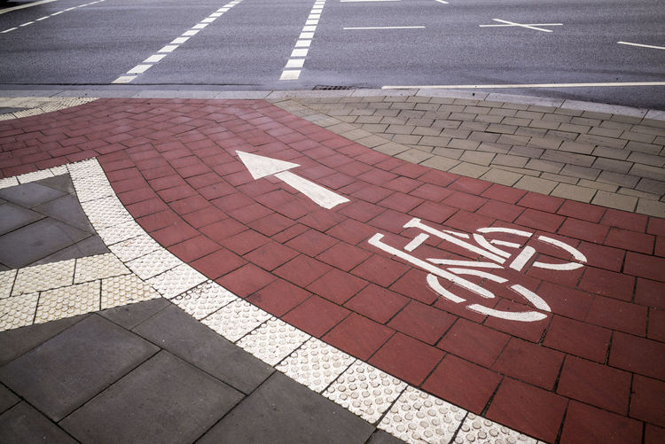 Bicycle lane Bicycle Trip Bicycle Bicycling Day Direction Guidance Lane No People Outdoors Road Road Marking Road Sign Transportation Fresh On Market 2018