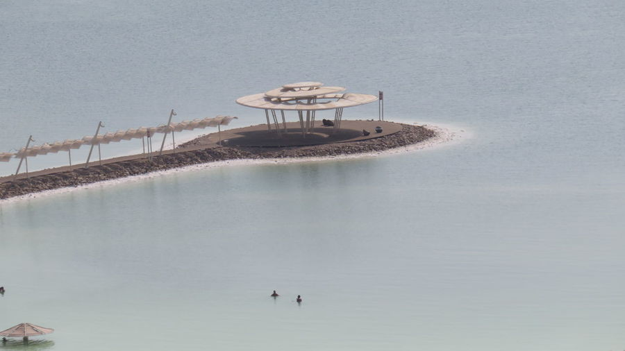 High Angle View Of Gazebo On Shore At Dead Sea