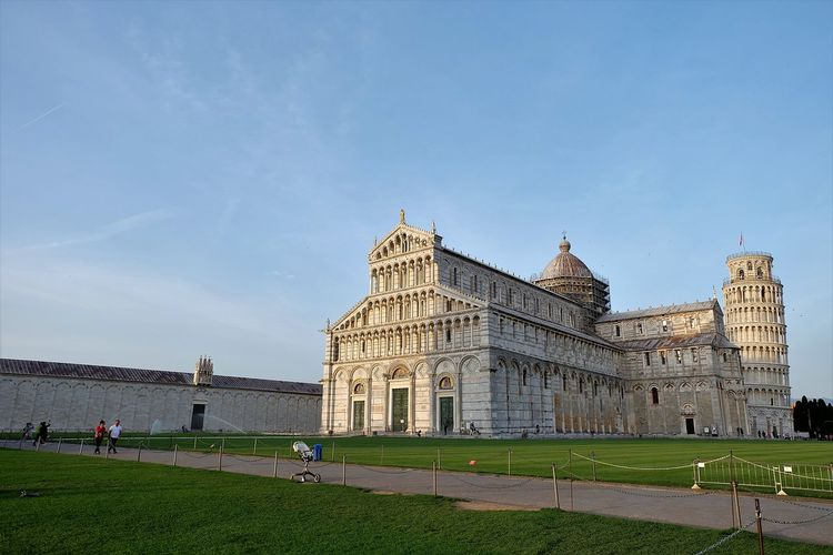 Pisa cathedral against clear sky