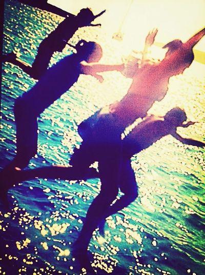 Jumping Summer Sunset Friends