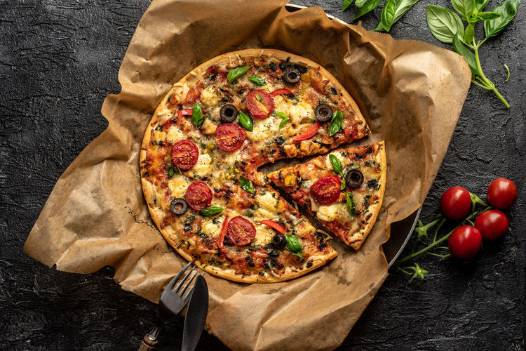 colorful, crispy pizza Spicy Pizza Italian Cuisine Italian Food Cheese Basil Baked The Foodie - 2019 EyeEm Awards Dessert Directly Above High Angle View Table Close-up Food And Drink Baked Mozzarella Pizzeria Baked Pastry Item