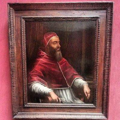 Pope Clement VII. Oil on slate. Impressive sheen because of the slate. Reformation HighRenaissance Woodapeuro