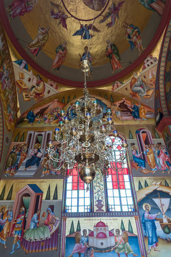 Tiberias, Israel, September 22, 2018 : Interior of the Greek Orthodox monastery of the twelve apostles in Capernaum (Cafarnaum) located on the coast of the Sea of Galilee - Kinneret, Israel Israel Architecture Cafarnaum Chapel Christianity Cross Faith Greek Orthodox Monastery Of The Twelve Apostles Icon Jesus Christ Kinneret Sea Of Galilee Spirituality Bible Capernaum Coast Culture Dome Heritage History Holy Interrior Religion Traditional Travel Destinations